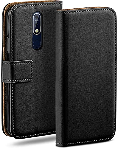 moex Klapphülle kompatibel mit Nokia 7.1 Hülle klappbar, Handyhülle mit Kartenfach, 360 Grad Flip Hülle, Vegan Leder Handytasche, Schwarz