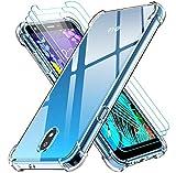 ivoler Funda para LG K30 2019 con 3 Unidades Cristal Templado, Carcasa Protectora Anti-Choque Transparente, Suave TPU Silicona Caso Delgada Anti-arañazos Case