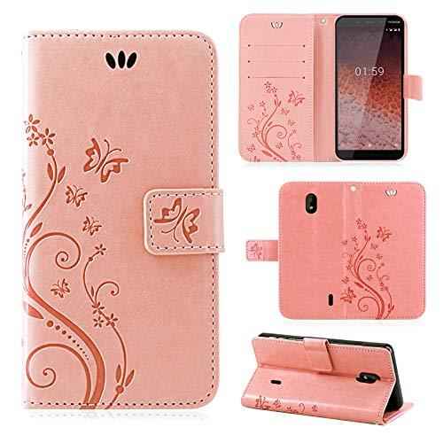 betterfon | Nokia 1 Plus Hülle Flower Case Handytasche Schutzhülle Blumen Klapptasche Handyhülle Handy Schale für Nokia 1 Plus Rosegold