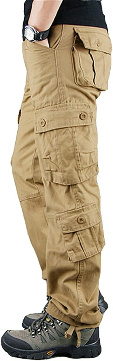 HARGLESMAN Men's Utility Cargo Work Pants Casual Relaxed Fit Overall Rip Stop Trousers with 8 Pockets