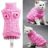 Bro'Bear Cable Knit Turtleneck Sweater for Small Dogs & Cats Knitwear (Pink, X-Small)