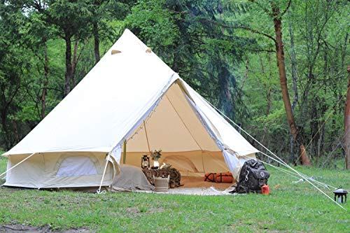 Outdoor Waterproof Family Glamping Yurt Cotton Canvas Bell Tent for Event Wedding Party (Diameter 4M)