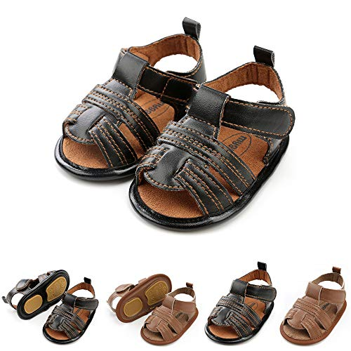 Save Beautiful Summer Baby Sandals Infant Boys Soft Sole Non-Slip First Walkers Shoes (Black, 6_Months)