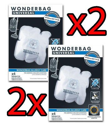 2 x Rowenta 4 sacs wonderbag Universal Allergy Care (soit 8 sacs au total) Endura wB484720