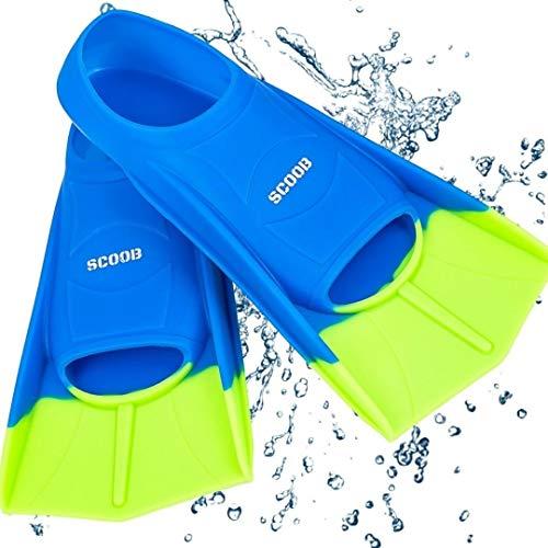 Aletas de natación para niños de scoob. Piscina Entrenamiento de natación Tamaño de viaje Hoja corta para bucear Actividades en la Bolsa de malla de viaje de dos tonos Azul / Verde 39-41 L