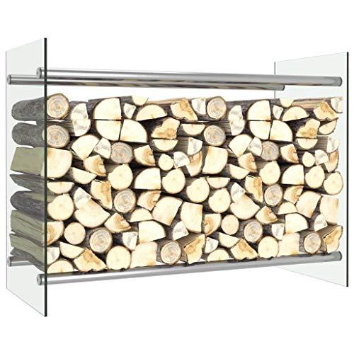 Ausla Kaminholzregal, Stahl-Holzflor Regal für Kaminwerkzeuge für Innen- und Außenbereich, transparent, 80 x 35 x 60 cm, Metall + gehärtetes Glas