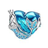 FOREVER QUEEN Mermaid Charms fit Pandora Charms Bracelet 925 Sterling Silver Charms Bead CZ Heart Shape Blue Enamel Bead Ocean Sea Charm for Snake Bracelets Necklace Women Girls Gift (Mermaid Charm)