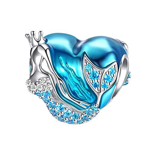 FOREVER QUEEN Mermaid Charms fit Pandora Charms Bracelet 925 Sterling Silver Charms Bead CZ Heart Shape Blue Enamel Bead Ocean Sea Charm for Snake Bracelets Necklace Women Girls Gift (Mermaid Charm)