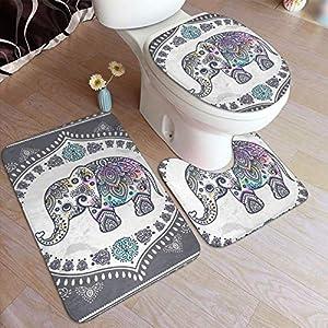 Indian Ethnic Elephant Bathroom Rug 3 Piece Sets Absorbent Bath Mats for Bathroom,Machine Washable Bathroom Mat & U-Shape Toilet Contour Mat & Toilet Lid Cover