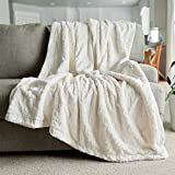 Softest Warm Elegant Cozy Faux Fur Home Throw Blanket by Graced Soft Luxuries (Solid Ivory, Large 50' x 60')
