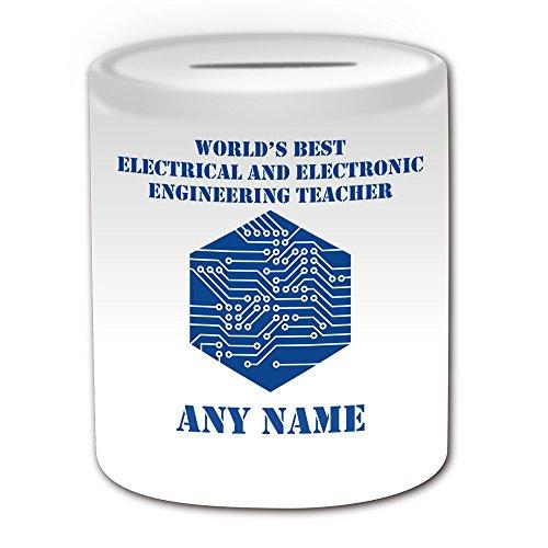 Regalo personalizado–World 's Best Teacher en ingeniería eléctrica y electrónica/PCBA Hucha (escolar...