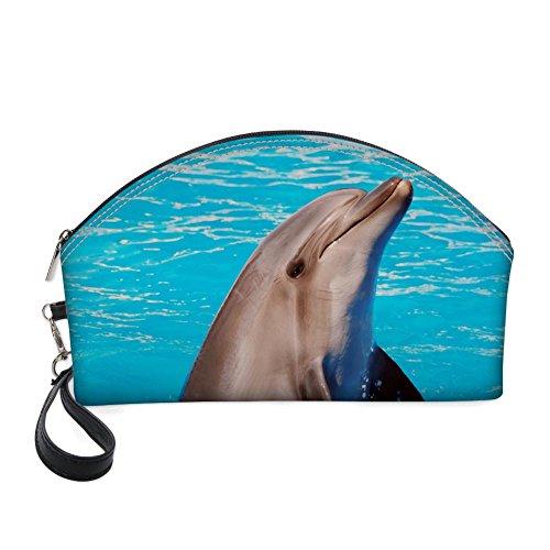 Nopersonality Grande trousse maquillage Animal Impression Cuir PU Organiseur Portable bleu dauphin