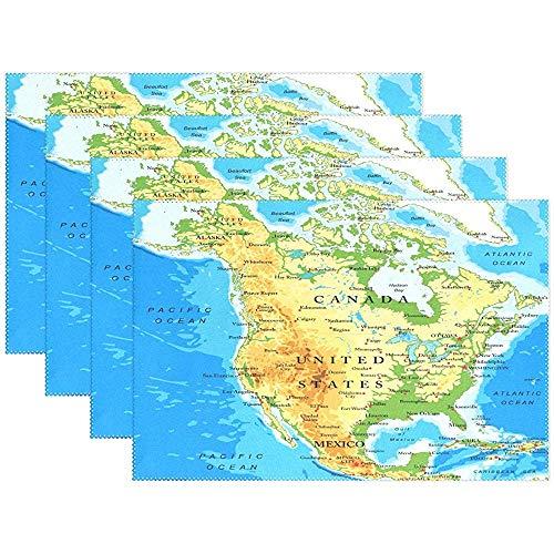 Dy Aari Physische Karte von Nordamerika Tischsets Polyester Tischsets Tischsets Tischsets 6er-Set