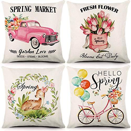 Liwoton Juego de 4 fundas de almohada de primavera de 45,7 x 45,7 cm, diseño floral, para camión, tulipanes, ciervos, bicicletas, flores, algodón, lino, funda de cojín para decoración del hogar