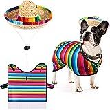 Frienda Dog Poncho Sombrero Hat Pet Serape Costume Funny Dog Costume Multicolor Adjustable Sombrero Costume Mexican Dog Poncho Straw Hat Bulldog Clothes for Mexican Party Decorations (Medium)