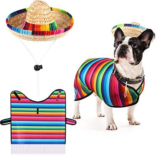 Sombrero de Perro Poncho de Sarape Disfraz de Perro Divertido Sombrero Ajustable Multicolor Poncho de Perro Mexicano Sombrero de Paja Ropa de Bulldog para Decoración de Fiesta Mexicana (M)