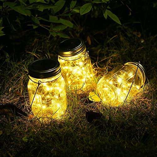 Solare Lanterne da Esterno – 3 Pezzi con 30 LED Impermeabile IP65 Luce Solare Decorativa per da Interno Esterno Luminose Giardino Terrazza Natale Feste Camera da Letto Decorazioni (Bianco Caldo)