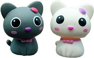 Kangkang@ Set of 2 Cute Kitty Bobbleheads Car Ornaments Auto Decorations,3.5'',grey&white Cat Furnishing Articles Spring Doll Supplies Automotive Interiors Cartoon Dolls