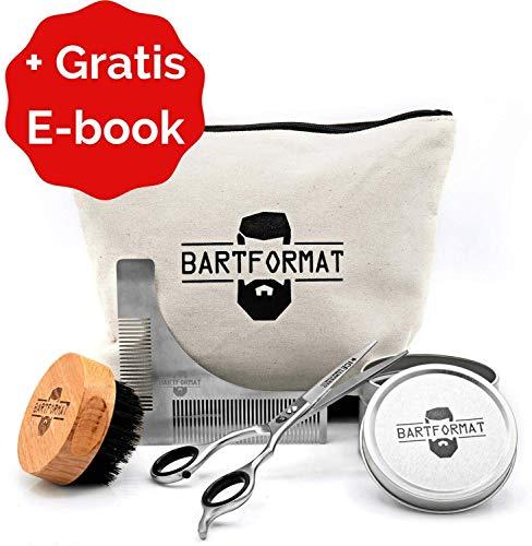 """BARTFORMAT Bartpflege Set""""SCHNITTWUNDER"""" - XL Bartschere + Rasur Schablone + Bartbürste + Kulturbeutel"""