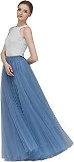 EllieHouse A Line Long Maxi Bridesmaid Tulle Skirt for Wedding Evening Party Prom P68