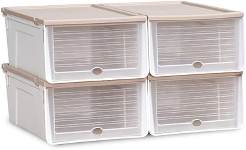 LIAN Thicken Storage Box shoes, Drawer Type Transparent shoes Box Combination Plastic Storage Case 4 6pcs (color   Beige, Size   Medium)