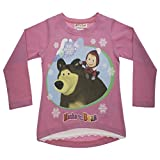 Mädchen Langarm-Shirt Mascha und der Bär, Oberteil in GRÖSSE 92, 98, 104, 110, 116, 122 Longsleeve T-Shirt Pulli, 100% Baumwolle Masha and The Bear Farbe Modell 1, Größe 116