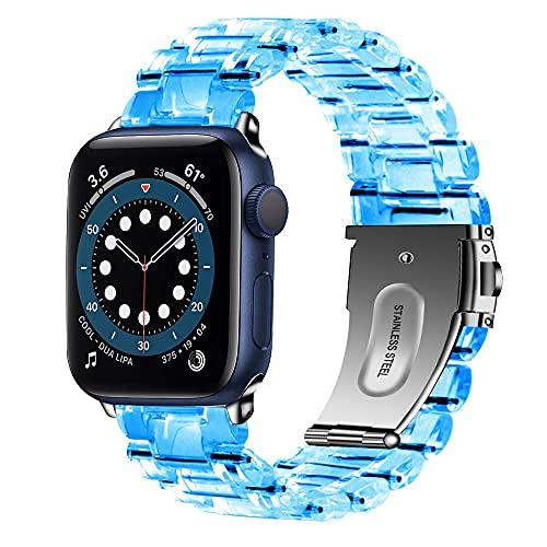 Para Apple Watch 6 Band Series 5 4 3 Se Correa de 44 mm, 40 mm, 42 mm, 38 mm para Apple Watch Se Iwatch Bandas Correa transparente (color de la correa: azul claro, ancho de la correa: serie 123 38 mm)