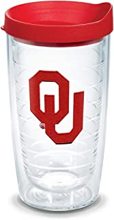 Tervis 1328462 Oklahoma Sooners Logo Insulated Tumbler with Emblem and Red Lid, 16oz, Clear