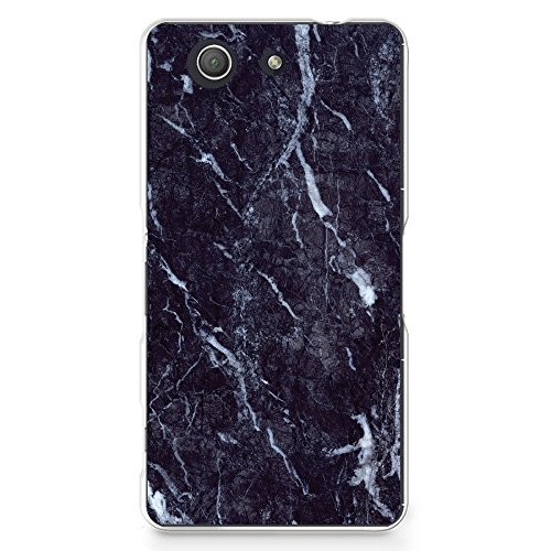 CasesByLorraine Compatible with Xperia Z3 Compact Case, Black Marble Print Slim Hard Plastic Cover for Sony Xperia Z3 Compact