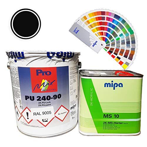 Mipa 2K Acryllack PU240-90 RAL9005 RAL9010 5kg Harter 2,5kg glanzend LKW (RAL 9005 Tiefschwarz)