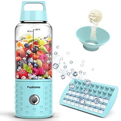 Portable Blender, PopBabies Personal Blender, Smoothie Blender. Rechargeable USB Blender Corolina Blue by PopBabies