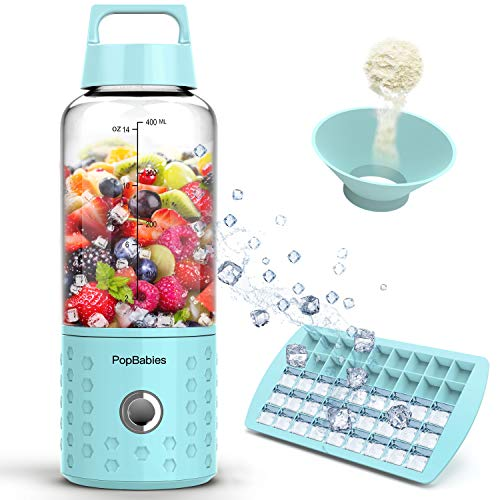 Portable Blender, PopBabies Personal Blender, Smoothie Blender. Rechargeable USB Blender Corolina Blue