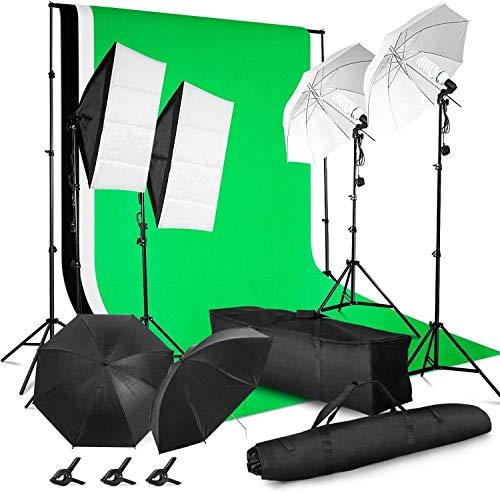 MVPOWER Softbox con Sfondo di 3 Colori Nero/Bianco/Verde 2m×1.6m con Kit Softbox Ombrello Bianco/Nero Treppiede,Set Illuminazione per Studio Fotografico GreenScreen