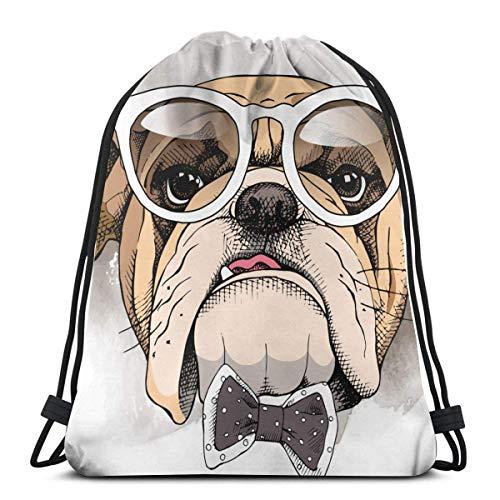 Hangdachang Rucksack mit Kordelzug, Motiv: Bulldogge in einer Brille, Turnbeutel