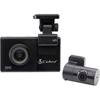 """Cobra Smart Dash Cam + Rear Cam (SC 200D) – QHD+ 1600P Resolution, Voice Commands, Built-in WiFi & GPS, 16GB SD Card, 3"""" Display, Shared Alerts, Incident Reports, Emergency MayDay, Drive Smarter App"""