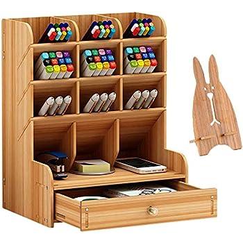 Wooden Desk Organizer, Multi-Functional DIY Pen Holder Box, Desktop Stationary, Drawers Supply Storage Rack for Office, School, Home Supplies,Easy Assembly