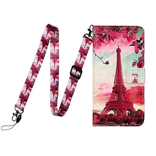 Miagon Handykette für Huawei P30 Lite,Necklace Hülle mit Band Schnur mit Case zum umhängen Stylische Kordel Kette Brieftasche Flip Handyhülle zum Umhängen,Turm Blume