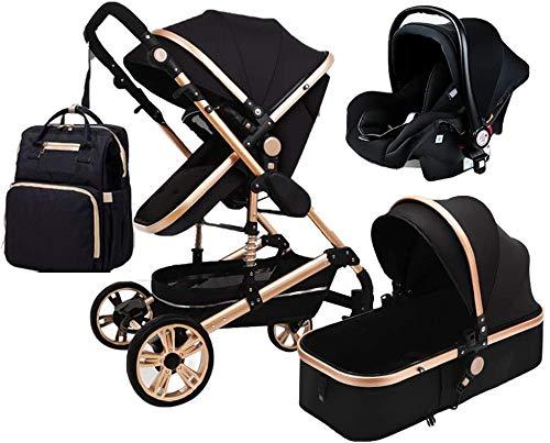 YZPTD 3 en 1 Cochecito Plegable carruaje de Lujo Baby Stroller Springs de absorción de Choque Vistas Altas Cochecito de bebé con Canasta de bebé y Mochila de Bolsa de Mami (Color : Negro)