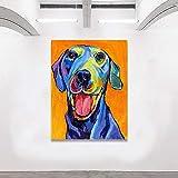 QWESFX Bully Dog Puppy Wall Art Tela Pittura Poster e stampe Immagine animale Immagine ad olio per soggiorno Decorazioni per la casa (Stampa senza cornice) D 60x90CM
