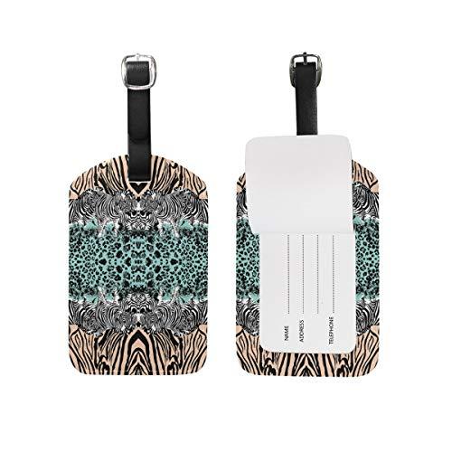 Etiquetas de equipaje con estampado de leopardo de cebra para maleta de 1 pieza