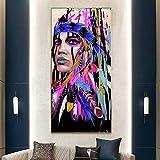 ganlanshu Pintura sin Marco Mujer Guerrero Aborigen Chica Arte Pintura sobre Lienzo Arte de la Pared Decoración de la Sala ZGQ4487 50X100cm