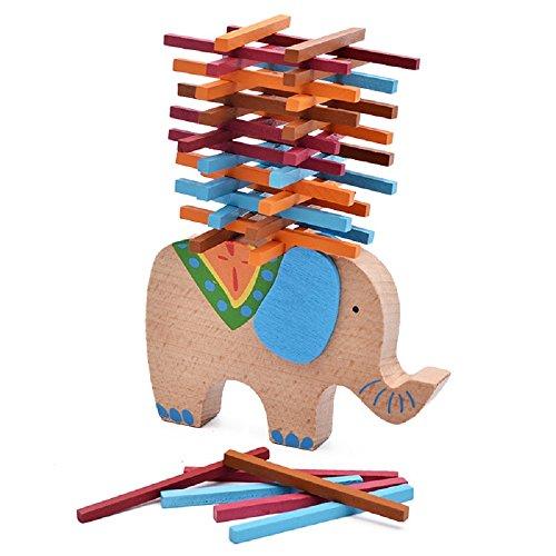Gobus FunnyGoo Holz Multi Color Frühes Lernen Blöcke Ausgleich Balance Spiel Spielzeug für Kinder (Elefanten Balance)