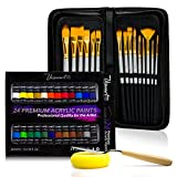 VisuartPRO Acrylic Paint Brush Set with 15 Premium Artist Brushes and 24 Color Acrylic Pai...