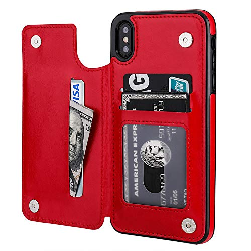iPhone Xs Max Wallet Case with Card Holder,OT ONETOP Premium PU Leather Kickstand Card Slots Case,Double Magnetic Clasp and Durable Shockproof Cover 6.5 Inch(Red)