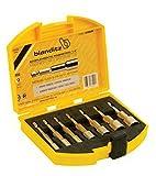 Bianditz 238925 Juego de acoplamientos para tornillos c/hexágono (6-7-8-10-11-12-13 mm) 7 unidades, amarillo y metal, 1/4'