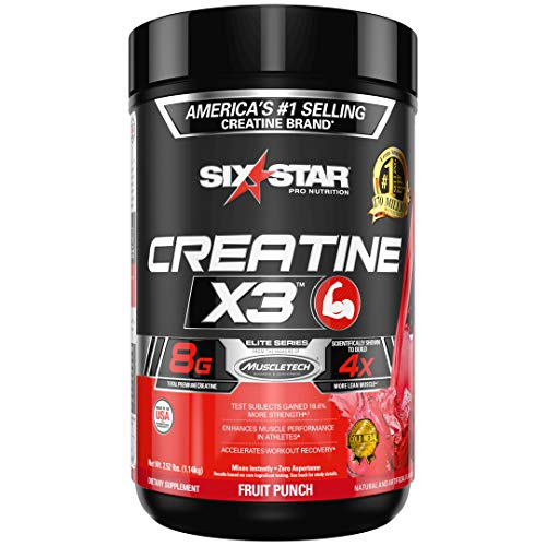 Creatine + BCAA Powder Mass Gainer | Six Star Creatine X3 Powder | Creatine Monohydrate + Creatine HCl | Post Workout Muscle Recovery + Muscle Builder | Creatine Powder | Fruit Punch (35 Servings)