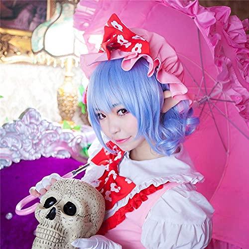 Seupeak Touhou Project Remilia Scarlet Cosplay Peluca 35CM Cabello Corto Rizado Ondulado Cabello sintético Resistente al Calor for Las Mujeres Anime Costume Blue Regalo