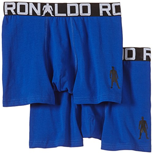 CR7 CRISTIANO RONALDO engan Joven Liegende Calzoncillos Line Trunk de 2 Pack, niño, Enganliegende Boxershorts Line Trunk 2-Pack, Azul, 13-15