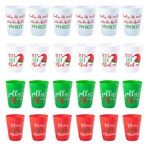 Christmas Party Cups, Reusable Plastic Tumblers, Holiday Designs (16 Oz, 24 Pack)