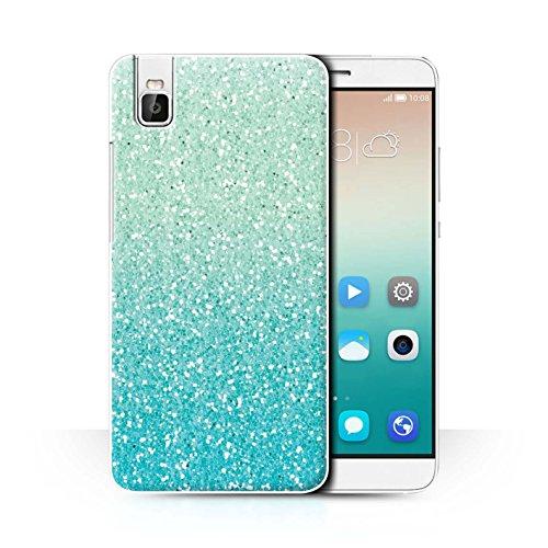 Hülle Für Huawei Honor 7i/ShotX Glitter Muster Effekt Minze Ombre Design Transparent Ultra Dünn Klar Hart Schutz Handyhülle Case